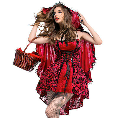 Little Red Riding Hood Halloween Outfit (Halloween women Gothic wind little red riding hood Costume Capes Outfits)