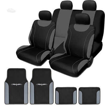 For Toyota New Black and Grey Flat Cloth Car Truck Seat Covers With Mats Set
