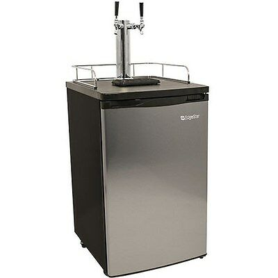 Stainless Steel Dual-Tap Home Beer Kegerator, Full Size Commercial Brew (Dual Tap Kegerator)