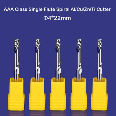 5pcs Aaa Aluminium Cutting One Flute Cnc Milling Cutter Router Bits 4mm 22mm