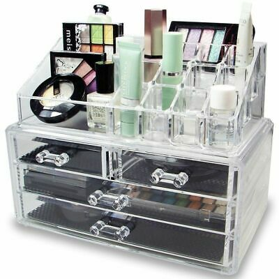 Acrylic Vanity Makeup Jewelry Storage Organizer Box Clear W/ 4 Drawers 13 Slot A