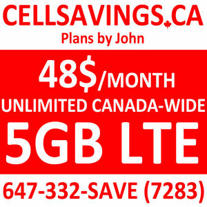 $48/Mth Unlimited + 5GB LTE Data - Cellsavings.ca Plans by John