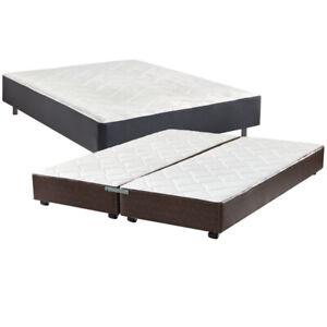 LEATHER BED PLATFORM WITH CHROME LEGS /BASE DE LIT CUIR