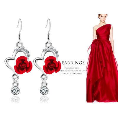 (2018  Big Diamond Pendant Fashion Long Paragraph Earrings Rose Earrings Women)