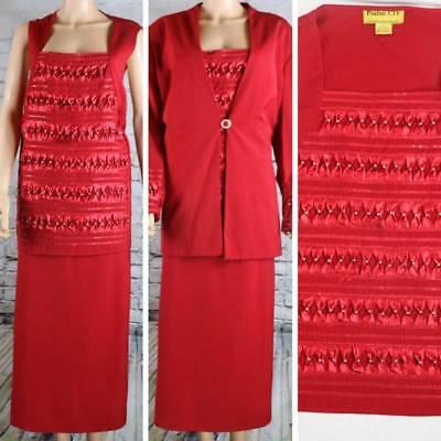 PSALM CIV Formal Skirt Dress Blazer 3 piece Suit Red Embellished Festive 24W