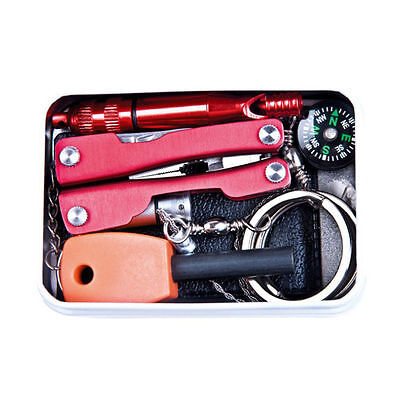 Self Outdoor Sporting Camping Hiking Survival Emergency Gear Tools Box Kit #04