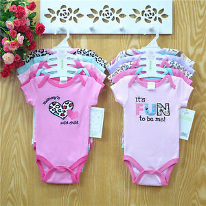 Cotton Baby Rompers, Infant Toddler Jumpsuit Short Sleeve