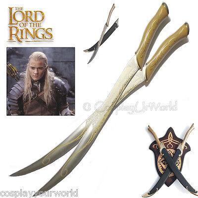 LOTR Lord of the Rings Legolas Elven Swords w. Wooden Plaque Wall Hanger - Legolas Swords