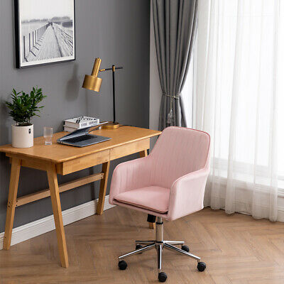 Home Office Desk Chair With Metal Base Modern Adjustable Chair With Arms Pink
