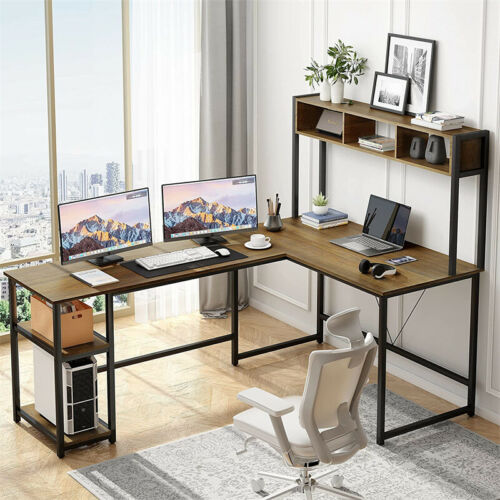L-Shaped Desk Computer Gaming Table with Storage Shelves Home Office Workstation