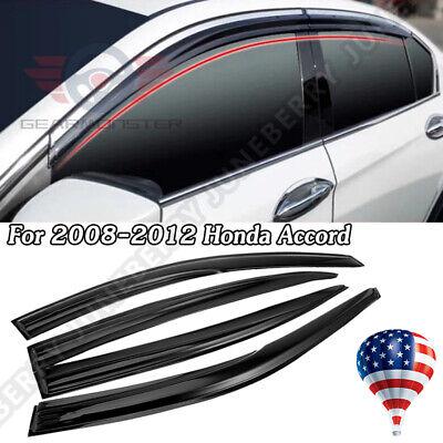 For 2008-2012 Honda Accord 4Door Sedan 3D Wavy Window Visor Gear 4pcs 4 Door Sedan Window