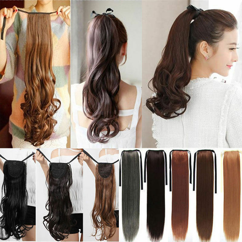 new drawstring clip In ponytail pony tail hair extension wra