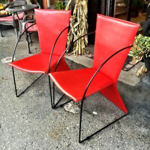 Mid Century MCM Italian Red Leather Club Chairs
