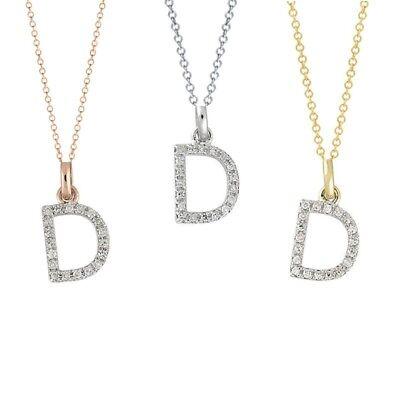 Diamond Initial Necklace 14 K Authentic Gold D Alphabet Letter Pendant Nice Gift