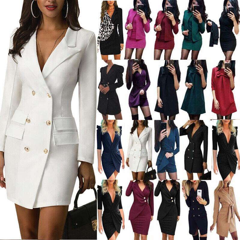 Damen Business Blazer Jacke Kleider Bodycon Formale Bürokleid Anzug Minikleid 44