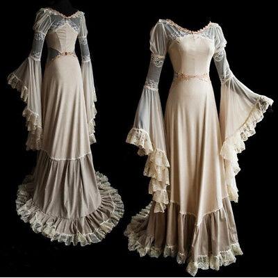 Women Vintage Medieval Maxi Long Dress Renaissance Cosplay Bodice Princess - Princess Dress Women