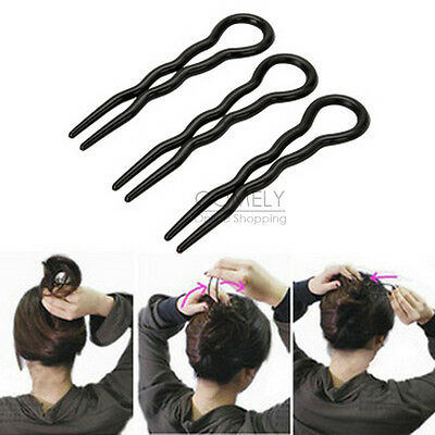 3Pcs Black Brown Plastic Updo Bun Bobby Pin Hair Clip Stick