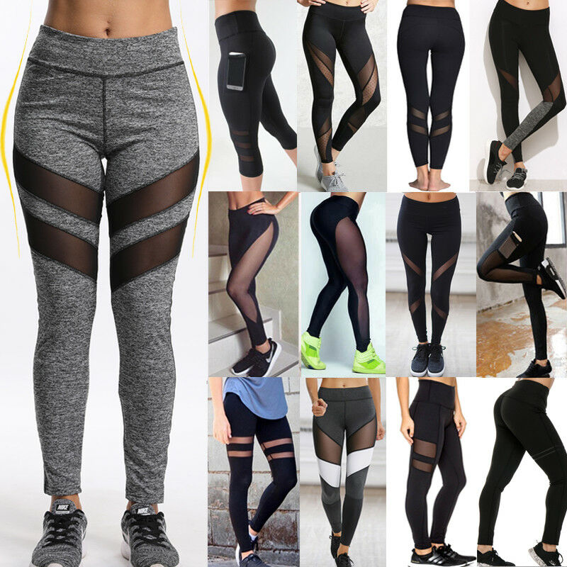 Women Sexy PU Leather Yoga Pants Hip Push Up Workout Stretch Leggings Trousers 7