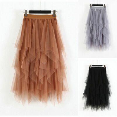 Elastic Waist Mesh Skirt (Women Ladies Tulle Mesh Layers Pleated Skirt Elastic High Waist Long Maxi)