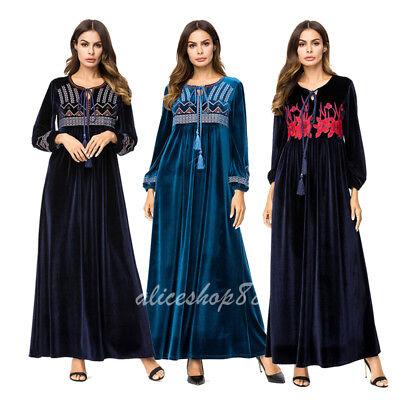 Women Velvet Embroidery Tassel Abaya Muslim Long Maxi Dress Dubai Kaftan Robes