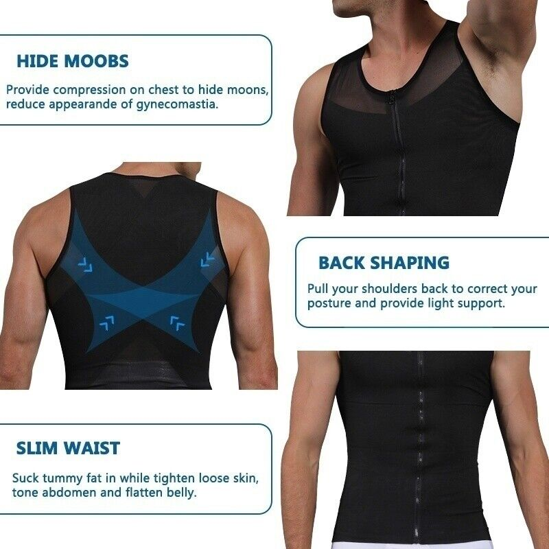 Men/'s Slimming Body Shaper Vest Boob Belly Control Compression Shirt Abs Tank UK