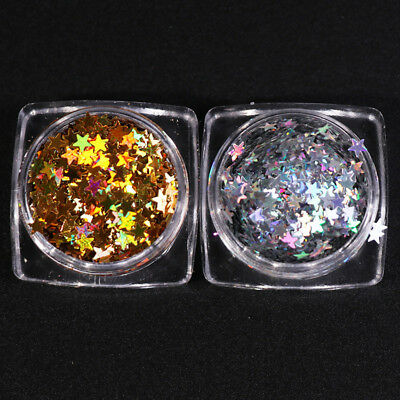 Nail Art Sequins Gold Silver Stars Shiny Stickers 3D Manicure Decorations DIY (Silver Stars Decorations)