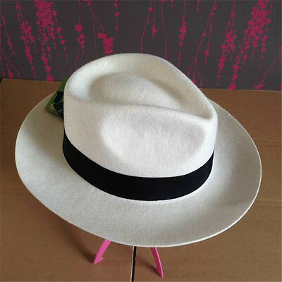 Classic Men's Wool Felt Godfather Fedora Hat - Gangster Mobster Hat  White  (White Felt Fedora)