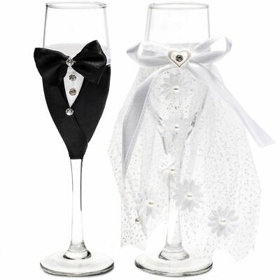 Bride and Groom Champagne Flutes, Wedding Dress Tuxedo Toasting Glasses Gift Set