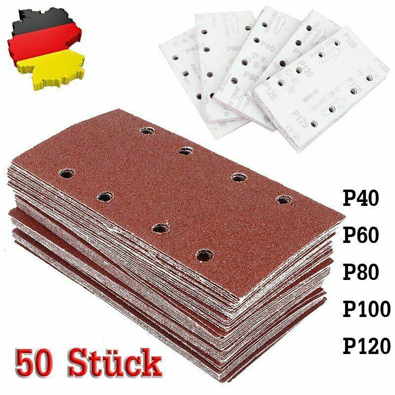 DE 50-tlg. Schleifpapier 185x93 mm Korn 40 60 80 100 120 8-Loch Aluminiumoxid
