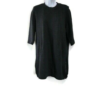 Fabletics Elena Sweatshirt Dress 3/4 Sleeves Dark Gray Side Zippers Size Large L