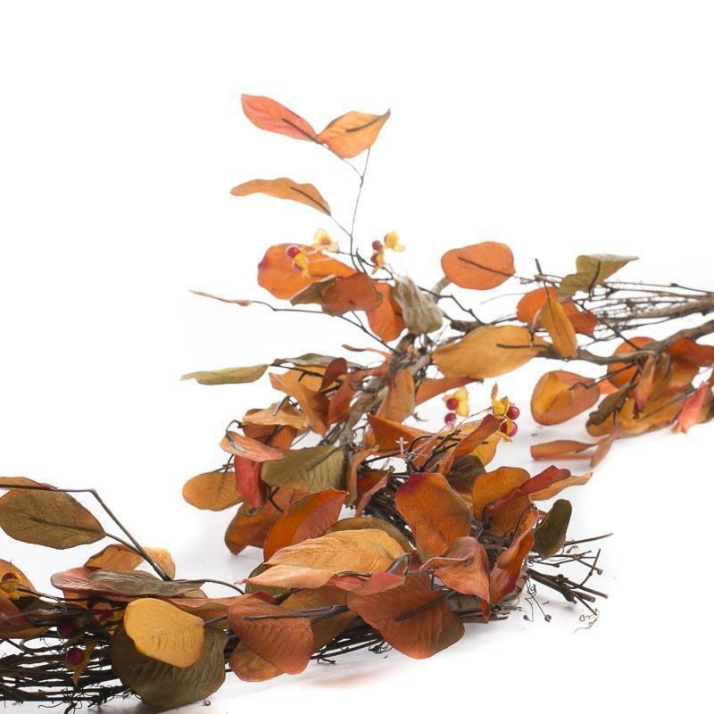 Factory Direct Craft Faux Autumn Leaf and Bittersweet Garland | for Indoor