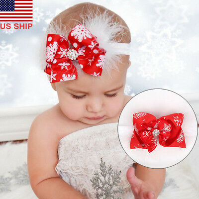 US! Baby Girls Toddler Christmas Bow Feather Snow Flower Hair Headwear Headband (Xmas Headbands)