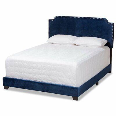 Baxton Studio Candace Velvet Nailhead Upholstered Full Bed i