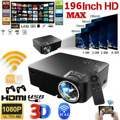 1080P HD WiFi Portable 3D LED Mini Video Projector Home Cinema 4K Wireless 2020