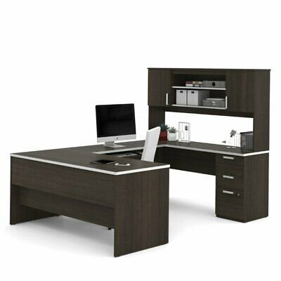 Bestar Ridgeley U-shaped Desk In Dark Chocolate