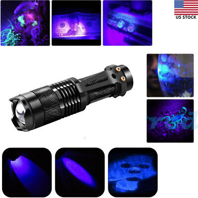 Zoomable 365nm UV Ultra Violet LED Flashlight Torch Light Lamp Super Bright USA