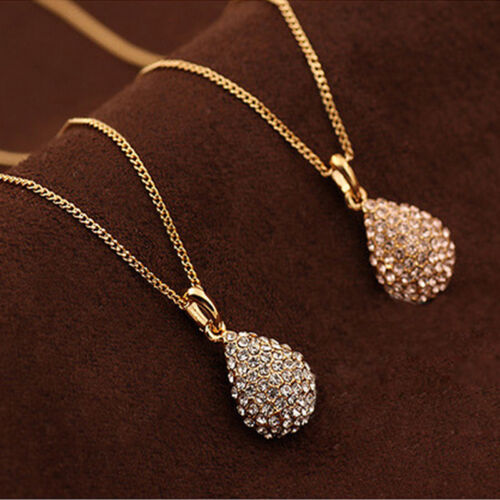 Necklace - Women Fashion Gold Silver Plated Crystal Pendant Long Chain Statement Necklace