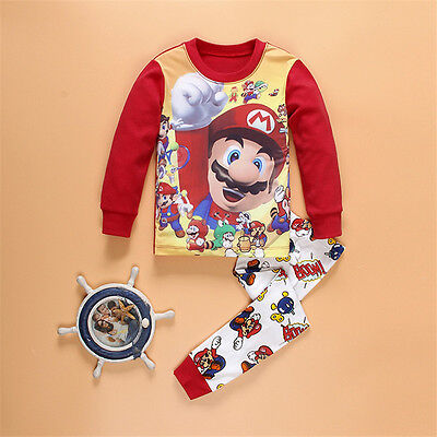 Mario Costume For Boys (Supper Mario Bros Costume Pajama Set Kids Baby Boy Clothing Cotton)