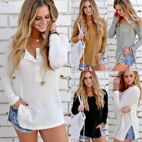 $4.99 - Fashion Women's Ladies Summer Long Sleeve Shirt Loose Casual Blouse Tops T-Shirt