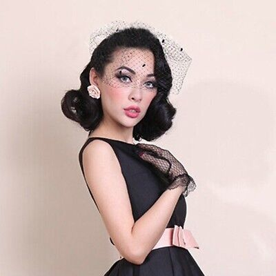 Black Chenille Dot Birdcage Veil Wedding Bridal Headpiece Mesh Scarf Fascinator