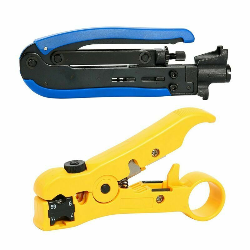 Compression Tool F RG59 RG6 RG11 Cable Wire Coax Coaxial Crimper Stripper Pliers
