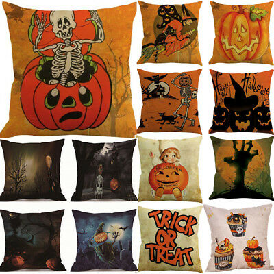 18''x18'' Happy Halloween Pillow Cases Happy Fall Yall Linen Sofa Cushion Set L - Happy Halloween 18+