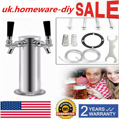 Draft Beer Tower 2 Tap Double Faucet Stainless Steel Homebrew Bar Fit Kegerator