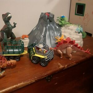 Playmobile Volcano set with Dinos and Vechicle