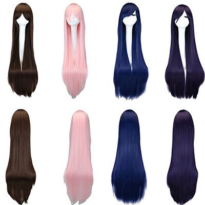 100cm Colorful Women Long Straight Wigs Heat Resistant Cosplay Costume Party Wig - Costume Wigs Women