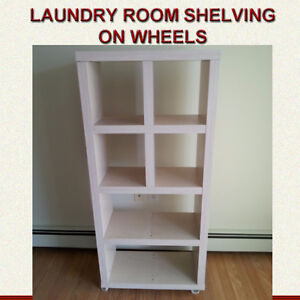 WHITE STORAGE UNIT SHELVING - ON WHEELS GREAT CONDITION