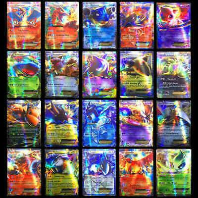 100PCS Pokemon Card Lot Mixed 80 EX+20 MEGA Holo Flash Trading Cards US USA