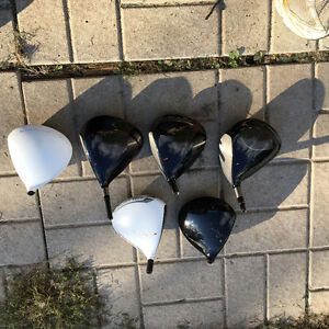 taylormade left hand and right hand driver and three wood heads