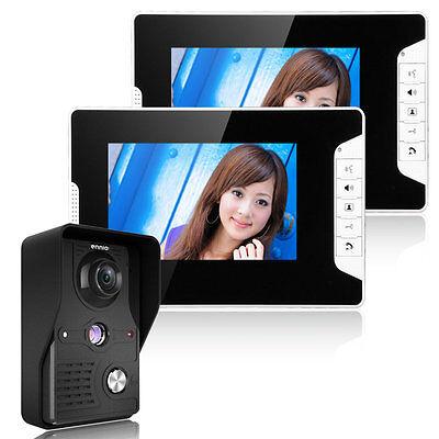 "7"" LCD Wired Video Door Phone Doorbell Intercom System IR Camera 2-Monitor US"