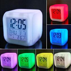 7 Color LED Change Digital Glowing Alarm Clock Electronic Clock Bedroom Child US